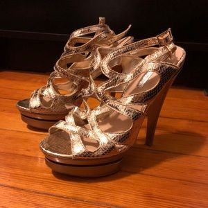 H by Halston gold double strap heels size 7